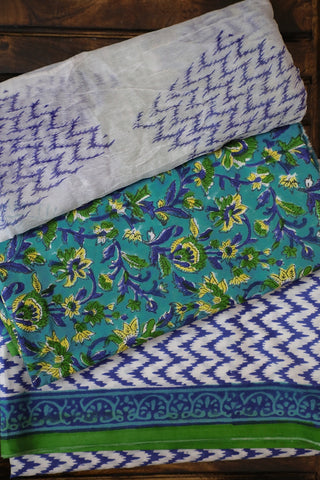 Blue with Green Floral Sanganeri Cotton With Chiffon Dupatta