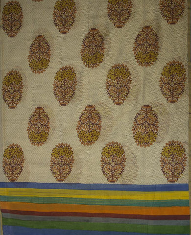 Greyish Blue Yarn Dyed Fabric with Block Printed Chanderi Silk Cotton Dupatta