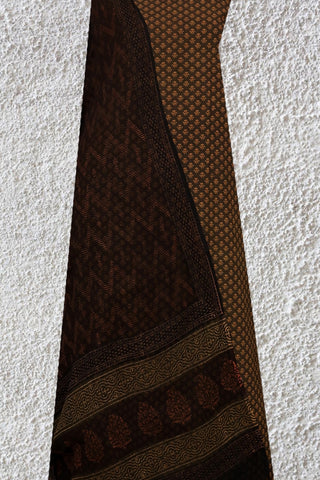 Brown with yellow Block Printed Suit with Kota Dupatta