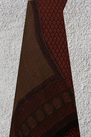Maroon with Red Hand Printed Suit With Kota Dupatta