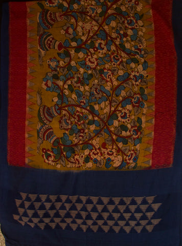 Black Zari Border Fabric with Painted Ikat Kalamkari Dupatta