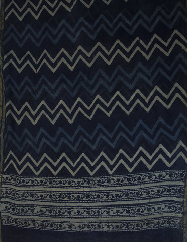 Grey Yarn Dyed Cotton Fabric with Indigo Chanderi Dupatta