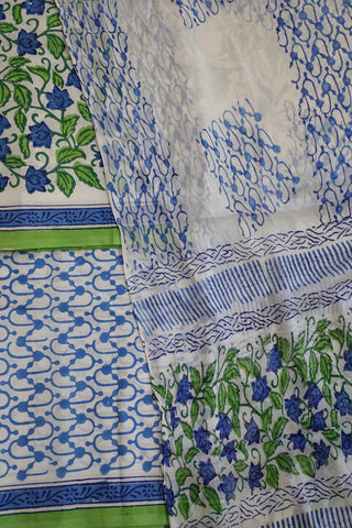 Off White with Blue and Green Floral Sanganeri Cotton With Chiffon Dupatta
