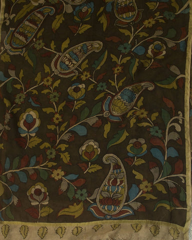 Dark Olive Green Handwoven Cotton Fabric with Painted Kalamkari Dupatta