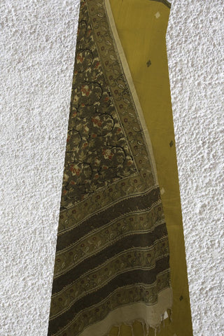 Pale Yellow Khadi Jamdani with Printed Kalamkari Cotton Dupatta