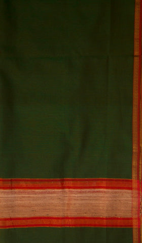 Black with Green Ikat Silk Fabric with Maheshwari Silk Cotton Dupatta