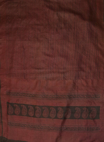 Maroon with Black Raw Silk Ikat Fabric with Tussar Silk Dupatta