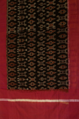 Grey Khadi Jamdani Fabric with Ikat Dupatta