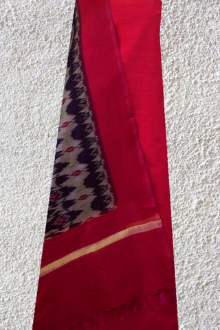 Dark Pink Handwoven Plain Fabric with Ikat Dupatta
