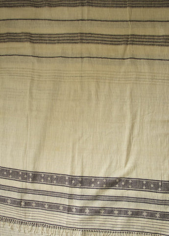 Elephant Grey Organic Cotton Fabric with Bhujodi Weave Dupatta