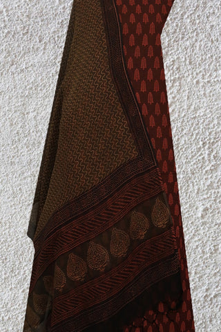 Shades of Maroon - Block Printed Suit with Kota Dupatta