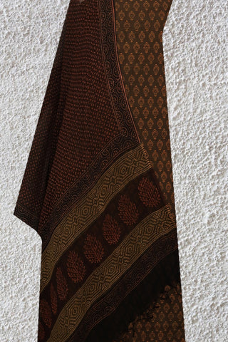 Brown Natural Dyed Suit With Kota Dupatta