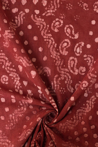 Patterns in Brick Red - Natural Dyed Organic Handwoven Cotton