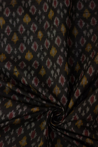 Black with golden yellow raw silk Ikat Fabric