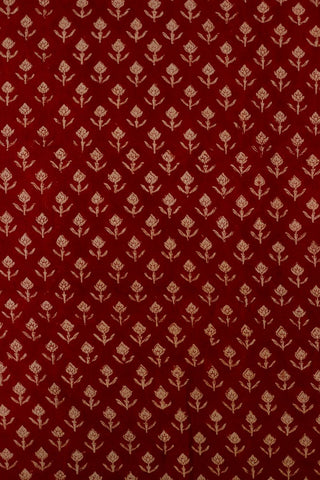 Red Small Floral Bagru Block Printed Cotton Fabric