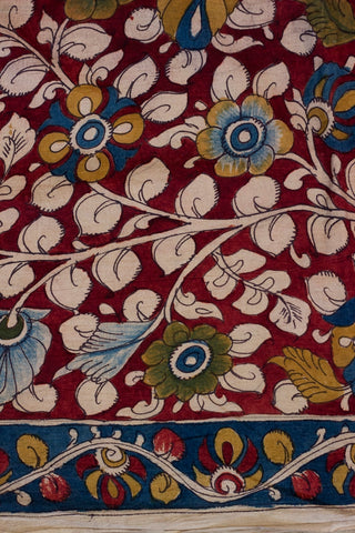 Deep Maroon Floral with Indigo Border Hand Painted Bordered Kalamkari Fabric