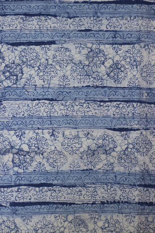 Off White with Blue Floral Bagru Block Printed Cotton Fabric