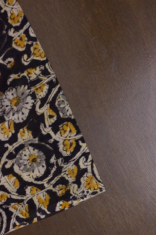 Yellow with Black Floral block Printed Kalamkari Fabric