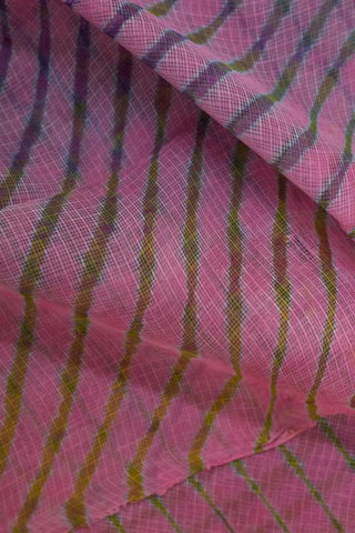 Pink with Multi Colour Lines Leheriya Saree