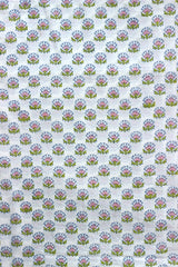 Pink with Green Flower Sanganeri hand block printed fabric