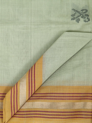 Green with Yellow Hand Woven Cotton Saree with Zari Border