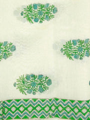 Green Sanganeri Chanderi fabric 1m
