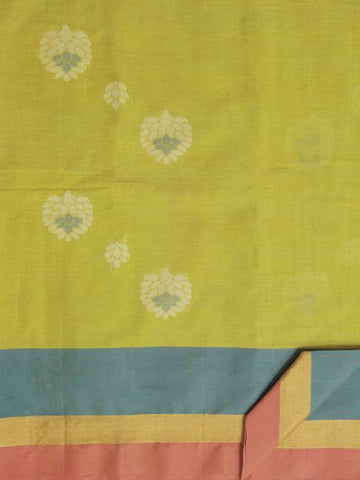 Neon Green Leaf Motif Hand woven Coimbatore Cotton Saree