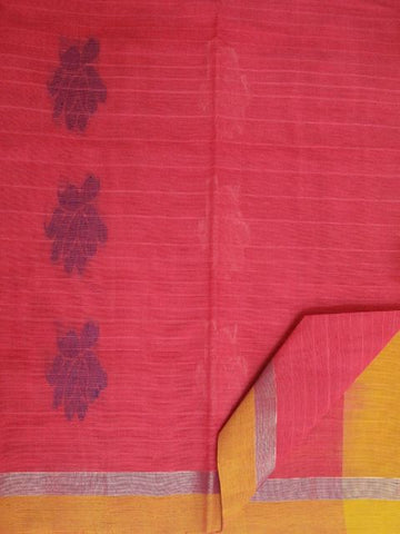 Pink with Mango yellow Handwoven Cotton Saree