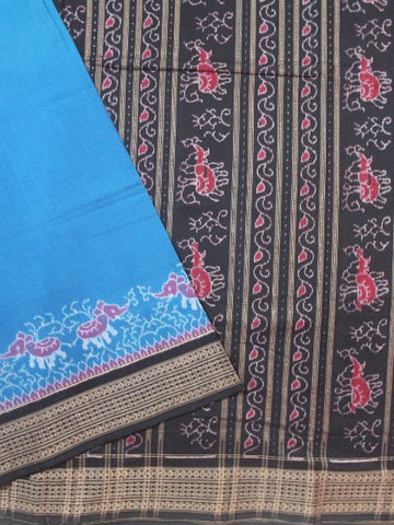 Blue with Black Handwoven Ikat Cotton Saree