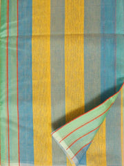 Blue with yellow Kora Silk Cotton Saree with veritical stripes