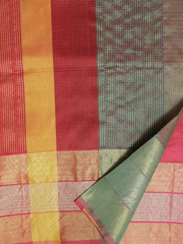 Green with Pink Kantha Work Pure Silk Saree