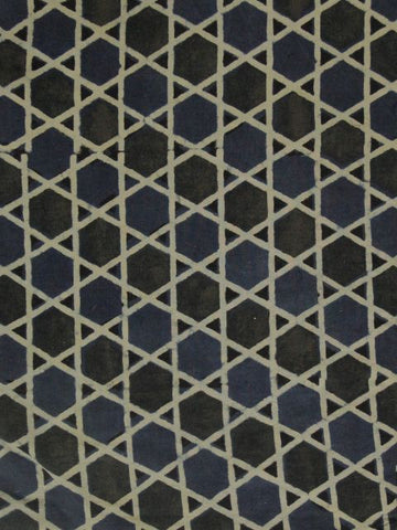 Blue Black Ajrak Star Print Fabric
