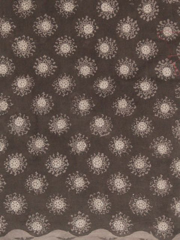 Dark Grey with Beige Block Printed Cotton Fabric
