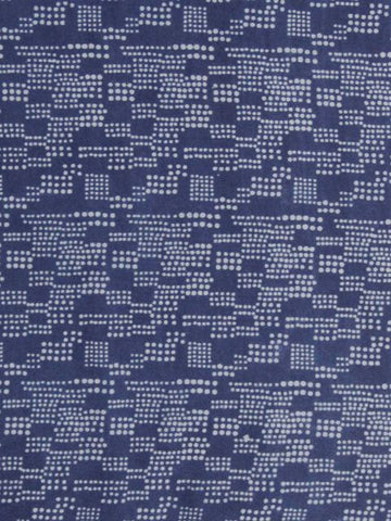 Indigo Dotted Cotton Dabu Print Fabric