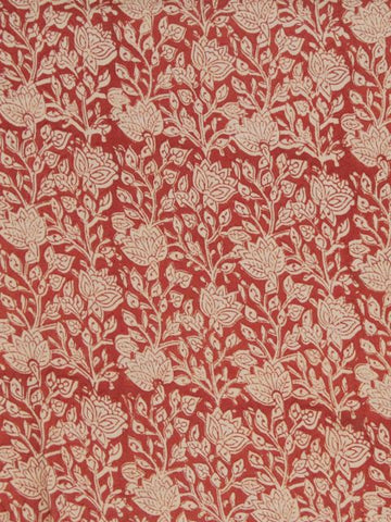 Brick Red floral Bagru Print Cotton Fabric