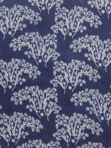 Indigo Trees - Dabu Print Fabric