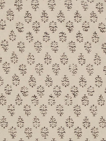 Beige Flower Print Block Printed Cotton Fabric