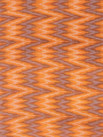 Orange Zigzags Ikat cotton fabric