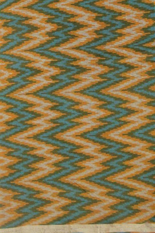 Orange Blue Handwoven Fine Cotton Ikat Fabric
