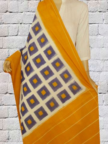 Mustard yellow with bright blue boxes - Handwoven Ikat Dupatta