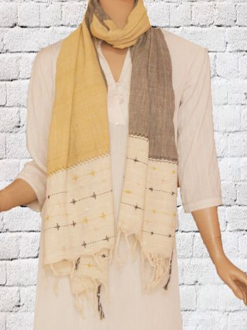Light yellow with grey Natural Dyed Hand Embroidered Khadi Stole