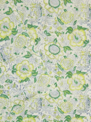 Yellow with Green Cotton Fabric 1m