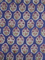 Blue with purple Block Printed Cotton Fabric