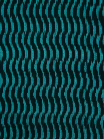 Black with Blue Waves Handwoven Ikat Fabric
