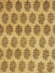 Beige with olive Block Printed Cotton Fabric-1.3m