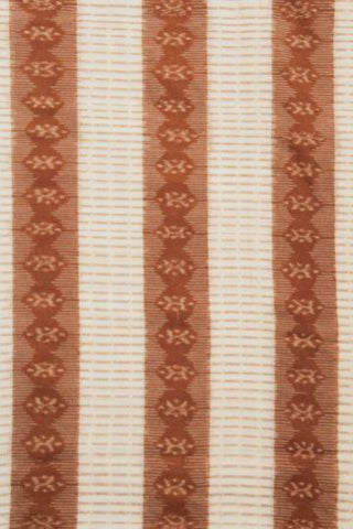 Brown with White - Fine Ikat Hand Woven Cotton