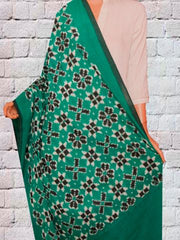 Bright Jade Green with Black Telia Rumal Ikat Dupatta