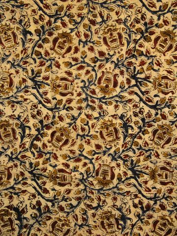 Beige with Red Block Printed kalamkari Fabric