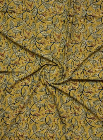 Yellow with Blue Floral Hand Printed Malkha Cotton Fabric