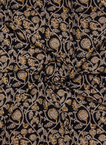 Pineapple in Black Hand Printed Malkha Cotton Fabric